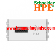 Ổ sạc USB 2.1A đơn Size S Zencelo màu trắng 8431USB_WE Schneider