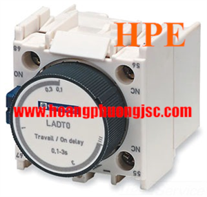 Tiếp điểm thời gian 1NO + 1NC on delay 0.1…3s, LADT0