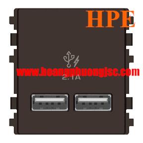 Ỏ sạc USB đôi 2.1A size 2S Zencelo màu đồng 8432USB_BZ Schneider
