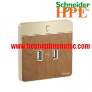 Bộ ổ sạc USB đôi 2.1A E8332USB_WD_G19 Schneider
