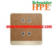 Bộ ổ cắm đôi 2 chấu 10A màu gỗ E83426U2_WD_G19 Schneider