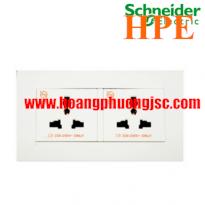 Bộ ổ cắm đôi đa năng 13A Schneider KBT413S_WE Vivace